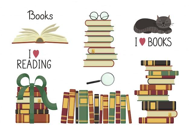 Conjunto de livros antigos. pilhas de livros antigos e caligrafia em fundo branco. ilustração de educação.