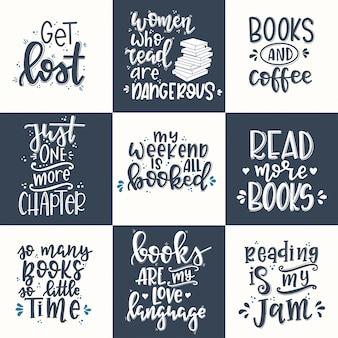 Conjunto de livros cartaz de tipografia desenhada de mão. frase manuscrita conceitual t camisa mão com letras desenho caligráfico. vetor inspirador