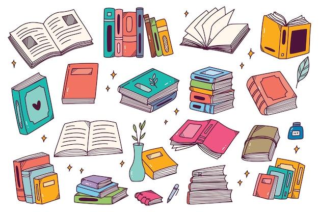 Conjunto de livros desenhados à mão doodle