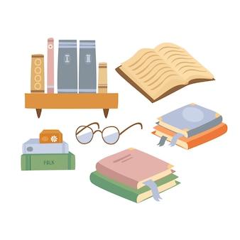 Conjunto de livros desenhados à mão