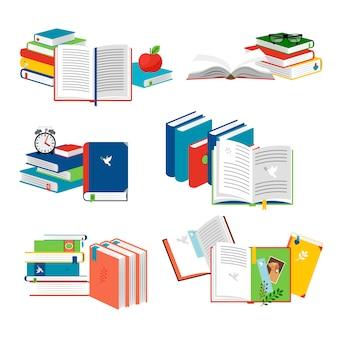 Conjunto de livros e cadernos