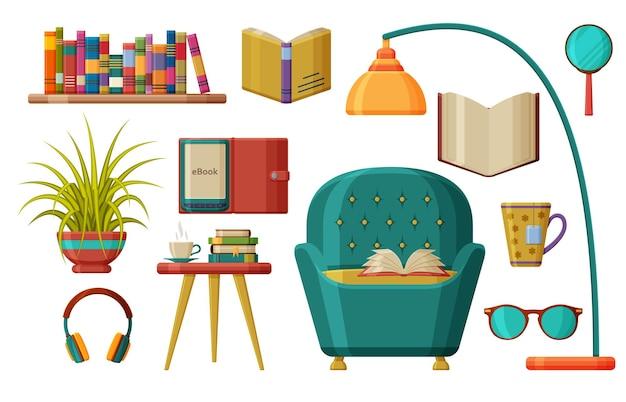 Conjunto de livros e leitura. poltrona confortável sob uma luminária de chão com um livro aberto.