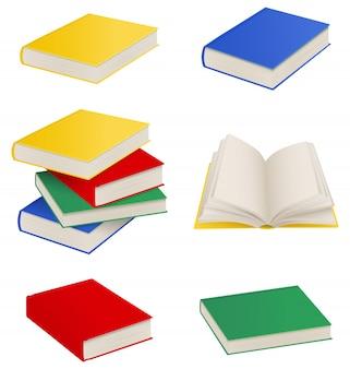 Conjunto de livros isolados, pilha de livros e livro aberto