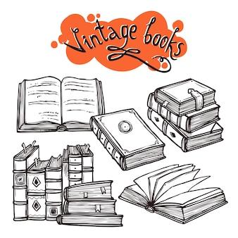 Conjunto de livros preto e branco