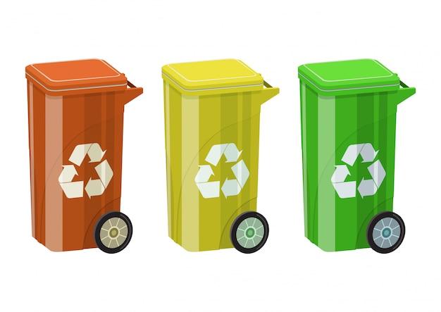 Conjunto de lixeira colorida para reciclagem. ilustrações