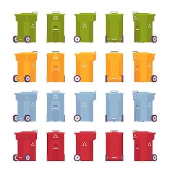 Conjunto de lixeiras sobre rodas, diferentes cores e posições