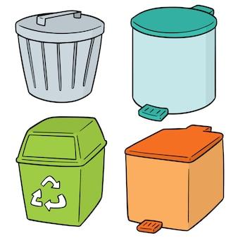 Conjunto de lixo de reciclagem