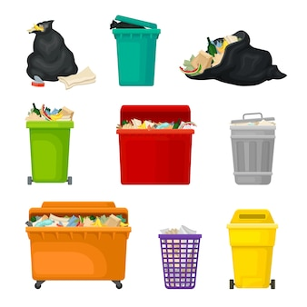 Conjunto de lixo em tanques e embalagens
