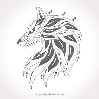 Conjunto de lobo étnico desenhado a mão