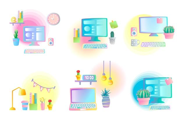 Conjunto de locais de trabalho criativos.