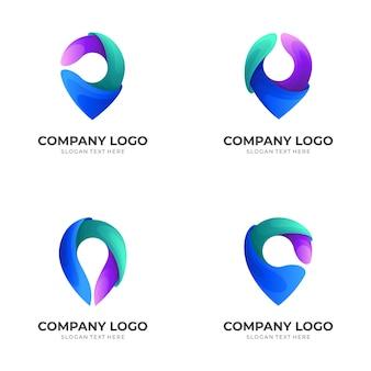 Conjunto de localização do logotipo com ícones coloridos