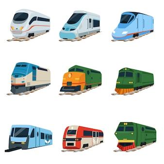 Conjunto de locomotivas de trens retrô e modernos, ilustrações de carruagem ferroviária em um fundo branco