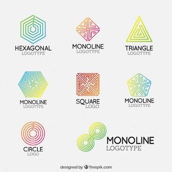 Conjunto de logo monoline colorido