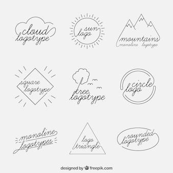 Conjunto de logo monoline da natureza