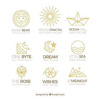Conjunto de logo monoline dourado