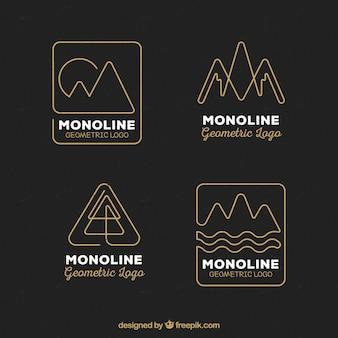 Conjunto de logo monoline preto e dourado