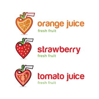 Conjunto de logoes de suco de frutas