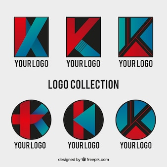 Conjunto de logos da letra k abstracta