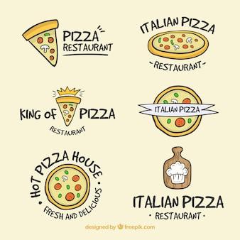 Conjunto de logos de pizza desenhados à mão