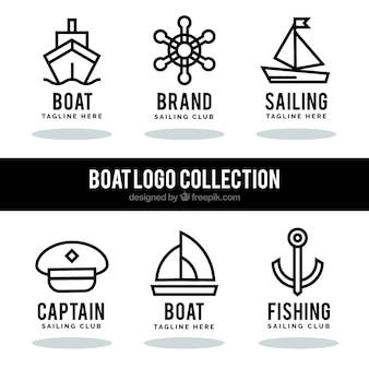 Conjunto de logos náuticos em estilo linear