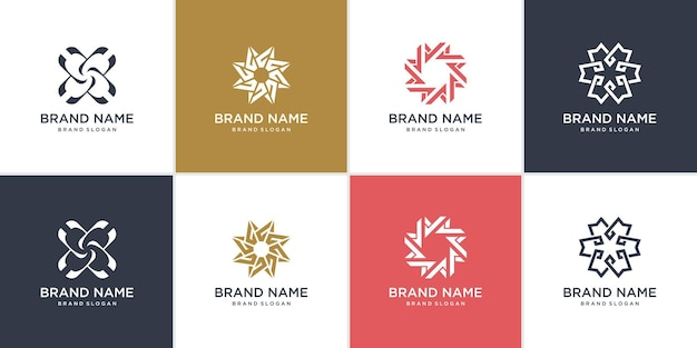 Conjunto de logotipo abstrato da empresa com conceito de estrela criativa premium vector