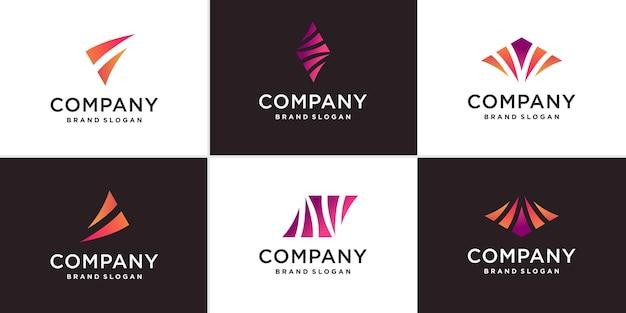 Conjunto de logotipo abstrato da empresa com vetor premium de conceito criativo