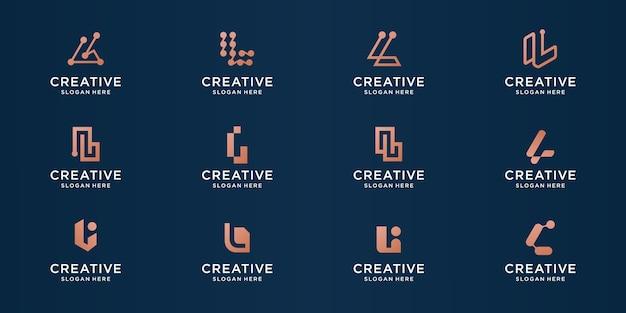 Conjunto de logotipo abstrato da letra l para negócios de luxo, elegante, abstrato.
