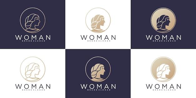 Conjunto de logotipo abstrato de beleza de mulher com estilo de arte de linha moderna premium vector