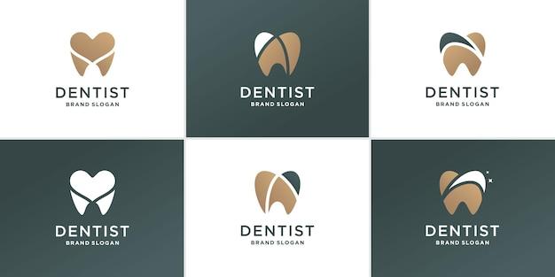 Conjunto de logotipo abstrato de dentista com conceito de elementos criativos diferentes premium vector