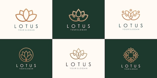Conjunto de logotipo abstrato de flor de lótus