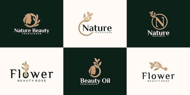 Conjunto de logotipo abstrato de flor rosa natural