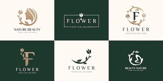 Conjunto de logotipo abstrato de flor rosa
