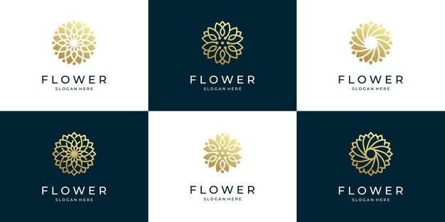 Conjunto de logotipo abstrato de flores de luxo