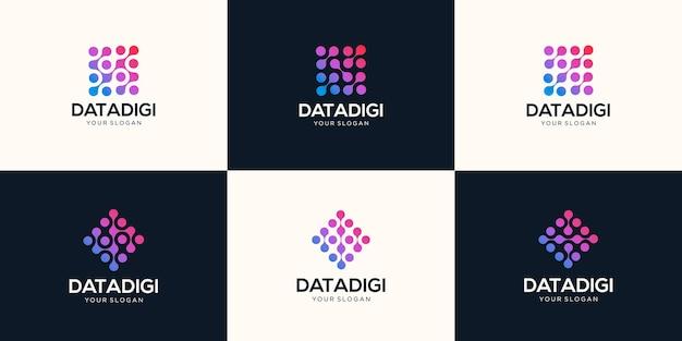 Conjunto de logotipo abstrato de tecnologia digital