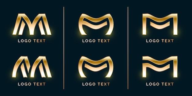 Conjunto de logotipo abstrato luxury m