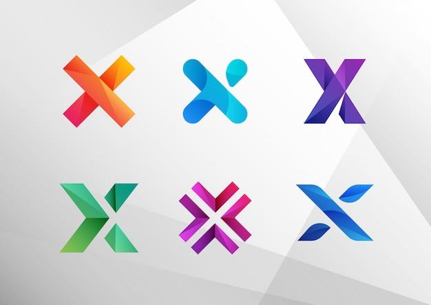 Conjunto de logotipo abstrato moderno gradiente x