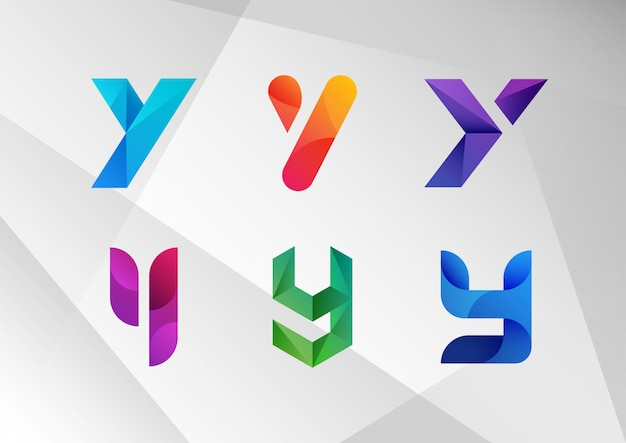Conjunto de logotipo abstrato moderno gradiente y
