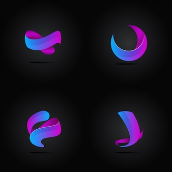 Conjunto de logotipo abstrato