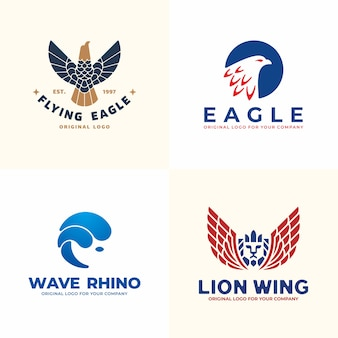 Conjunto de logotipo animal. coleção de logotipo de águia, rinoceronte, leão.