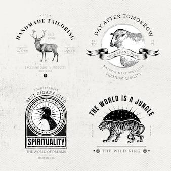 Conjunto de logotipo animal retrô de distintivo de negócios vintage