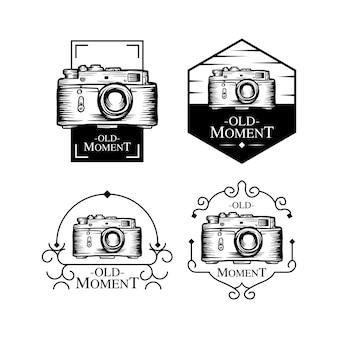 Conjunto de logotipo antigo momento