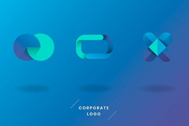 Conjunto de logotipo azul turquesa