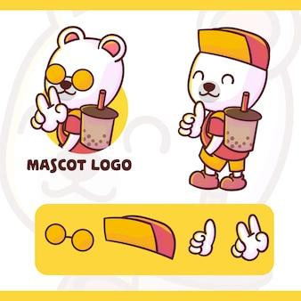 Conjunto de logotipo bonito da mascote polar boba com aparência opcional, estilo kawaii