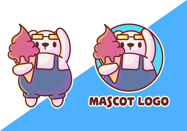 Conjunto de logotipo bonito do mascote de sorvete polar com aparência opcional