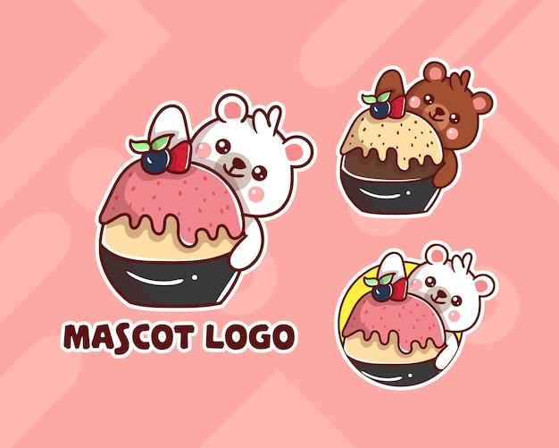 Conjunto de logotipo bonito do mascote polar de sorvete com aparência opcional. kawaii