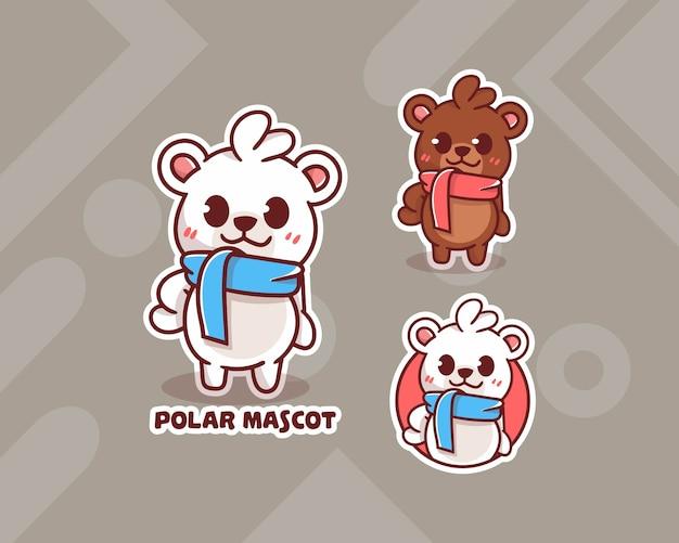 Conjunto de logotipo bonito do urso polar com aparência opcional. kawaii