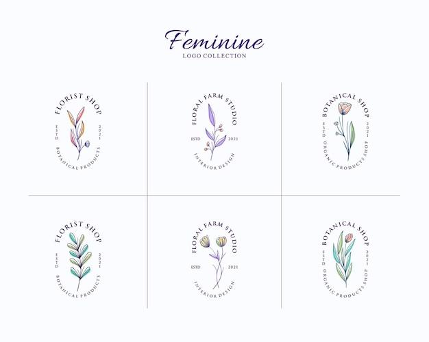 Conjunto de logotipo botânico feminino com modelo de emblema