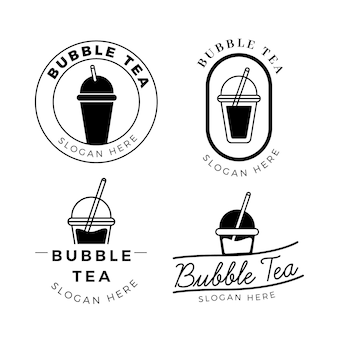 Conjunto de logotipo bubble tea