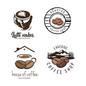 Conjunto de logotipo café vintage