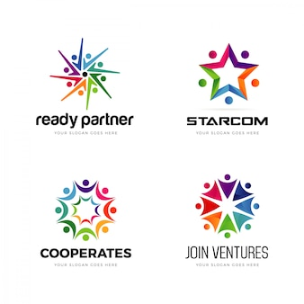 Conjunto de logotipo colorido comunidade